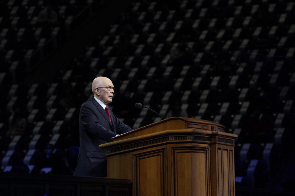 President Dallin H. Oaks, first counselor in the First Presidency, addresses students gathered in the Marriott Center on BYU campus on Oct. 27, 2020, for the first small gathering since the outbreak of COVID-19.