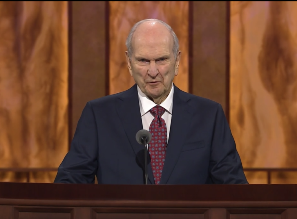 President Russell M. Nelson speaks during the Saturday morning session of general conference on Oct. 3, 2020.