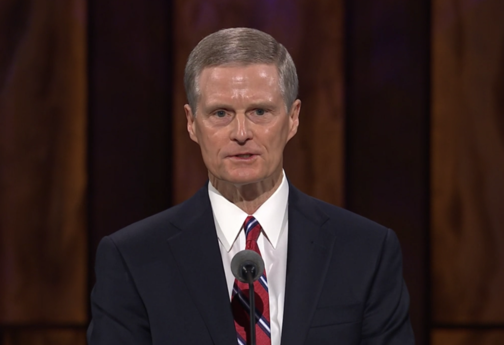 Elder David A. Bednar speaks during the Saturday morning session of general conference on Oct. 3, 2020.