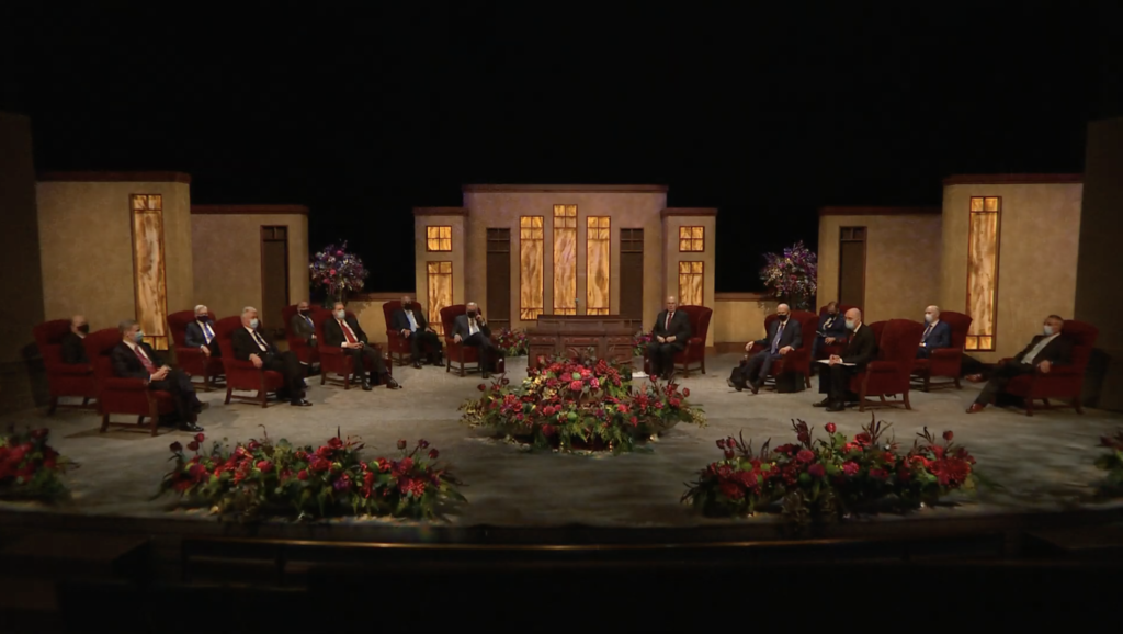 Members of the First Presidency and Quorum of the Twelve are seated at the beginning of the Saturday afternoon session of general conference on Oct. 3, 2020.