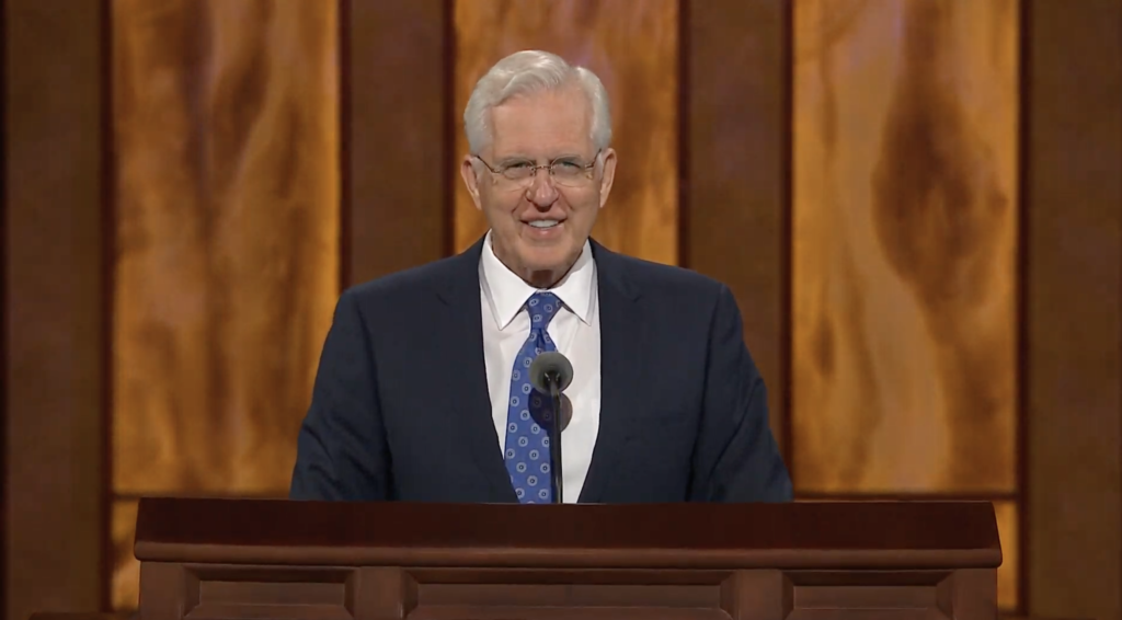 Elder D. Todd Christofferson, a member of the Quorum of the Twelve Apostles, speaks during the Saturday afternoon session of the 190th Semiannual General Conference of The Church of Jesus Christ of Latter-day Saints on Oct. 3, 2020.