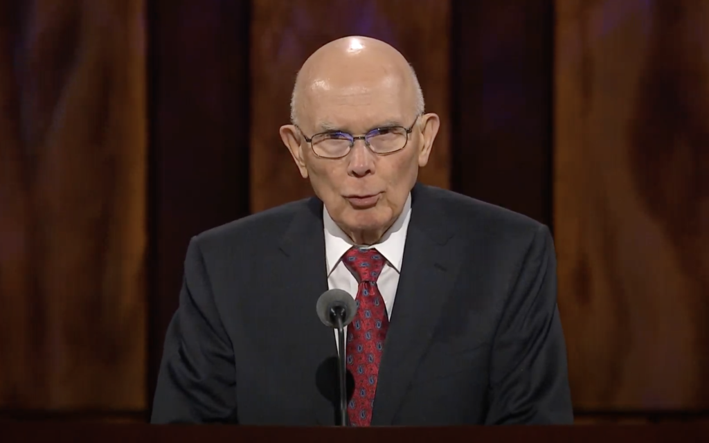 President Dallin H. Oaks, first counselor in the First Presidency, speaks during the general women's session of the 190th Semiannual General Conference of The Church of Jesus Christ of Latter-day Saints on Oct. 3, 2020.