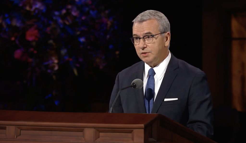 Elder Carlos A. Godoy of the Presidency of the Seventy speaks during the Sunday morning session of the 190th Semiannual General Conference of The Church of Jesus Christ of Latter-day Saints on Oct. 4, 2020.
