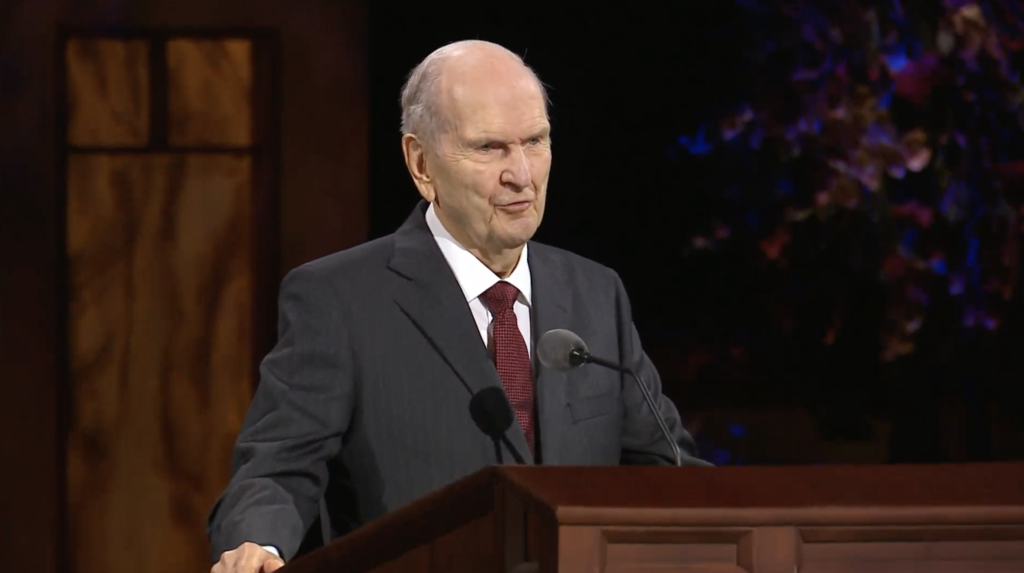 President Russell M. Nelson speaks during the Sunday morning session of the 190th Semiannual General Conference of The Church of Jesus Christ of Latter-day Saints on Oct. 4, 2020.