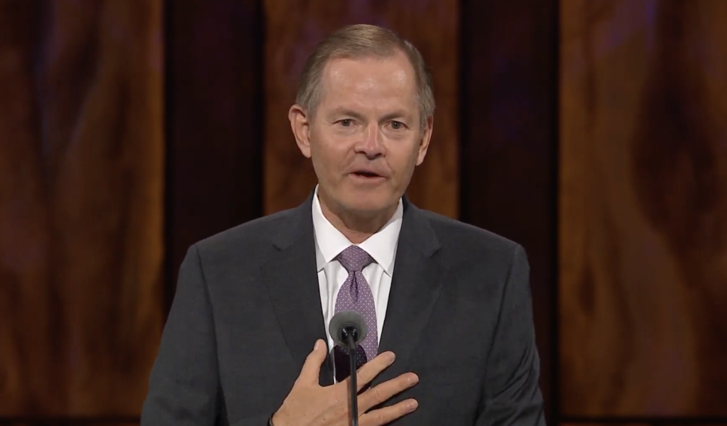 Elder Gary E. Stevenson of the Quorum of the Twelve Apostles speaks during the Sunday morning session of the 190th Semiannual General Conference of The Church of Jesus Christ of Latter-day Saints on Oct. 4, 2020.