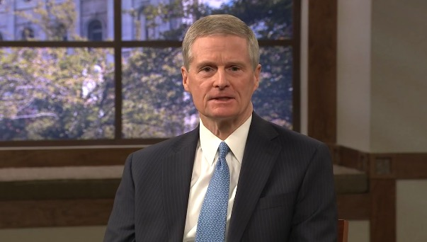 Elder David A. Bednar of the Quorum of the Twelve Apostles participates in a virtual session of the G20 Interfaith Forum on Wednesday morning, Oct. 14. His remarks were livestreamed on his social media accounts.
