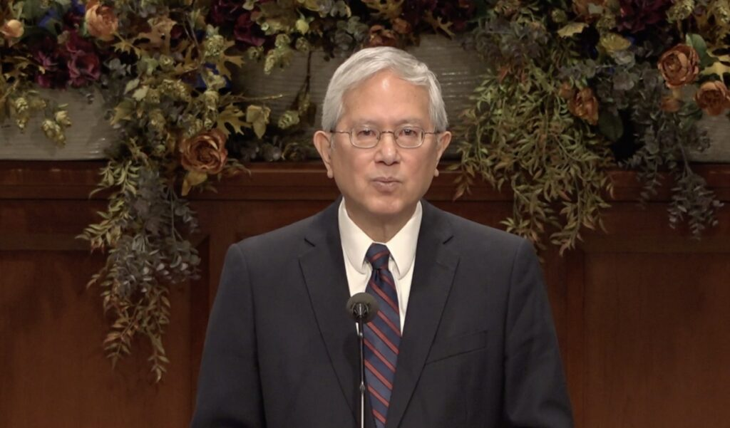 Elder Gerrit W. Gong of the Quorum of the Twelve Apostles speaks during a broadcast to BYU-Idaho students for the weekly campus devotional on Oct. 20, 2020.