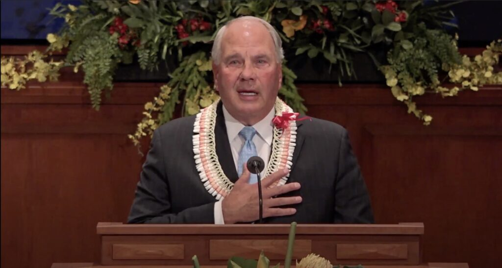Elder Ronald A. Rasband speaks during a BYU–Hawaii devotional broadcast on Oct. 20, 2020.
