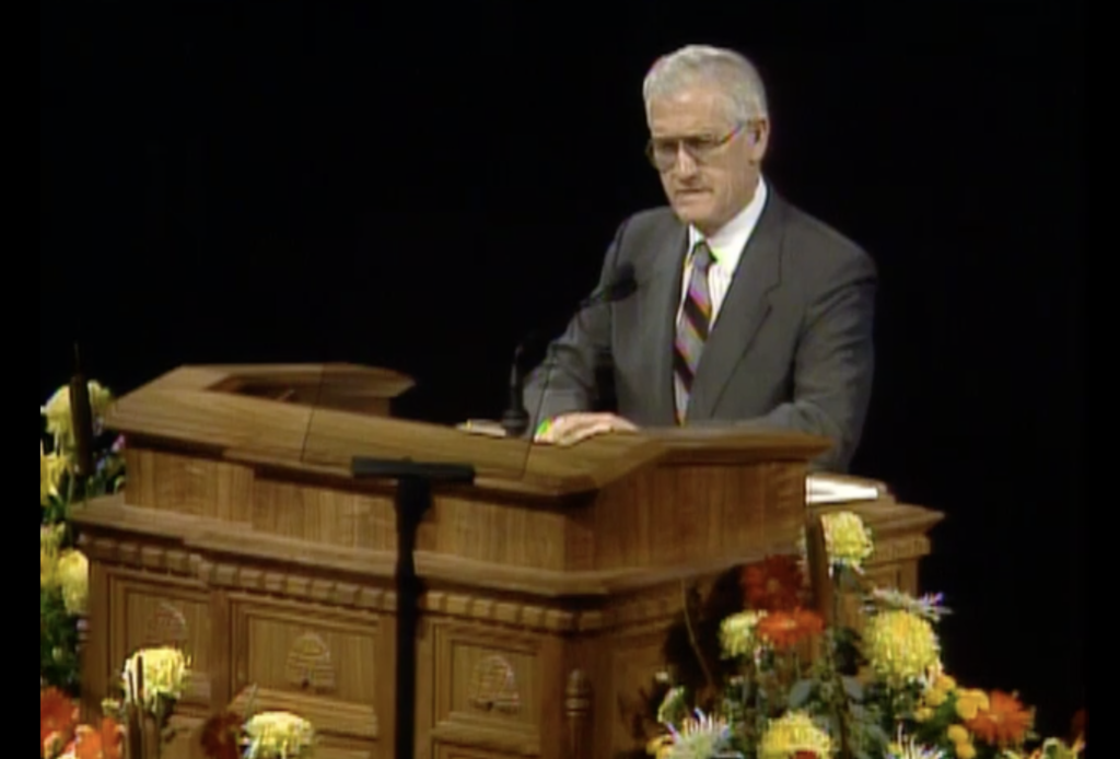 Elder Waldo P. Call, a General Authority Seventy, speaks during the October 1990 general conference.