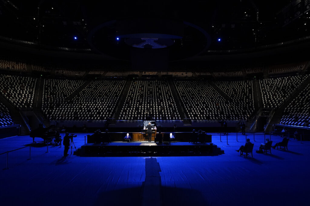 President Dallin H. Oaks, first counselor in the First Presidency, addresses a group of social distancing students gathered in the Marriott Center on BYU campus on Oct. 27, 2020, for the first small gathering since the outbreak of COVID-19.