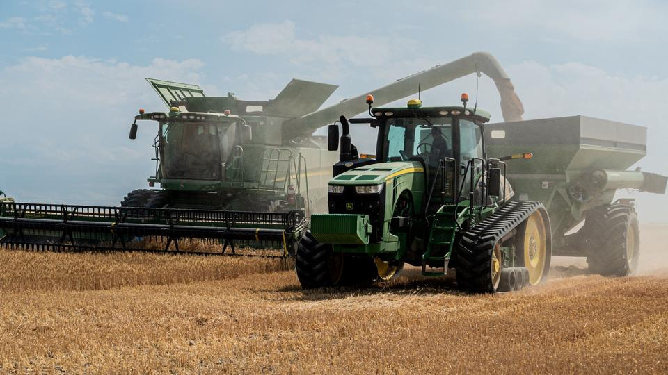 Wheat is harvested on a farm owned and operated by The Church of Jesus Christ of Latter-day Saints in Idaho Falls, Idaho, on August 26, 2020. The wheat benefits those in need.