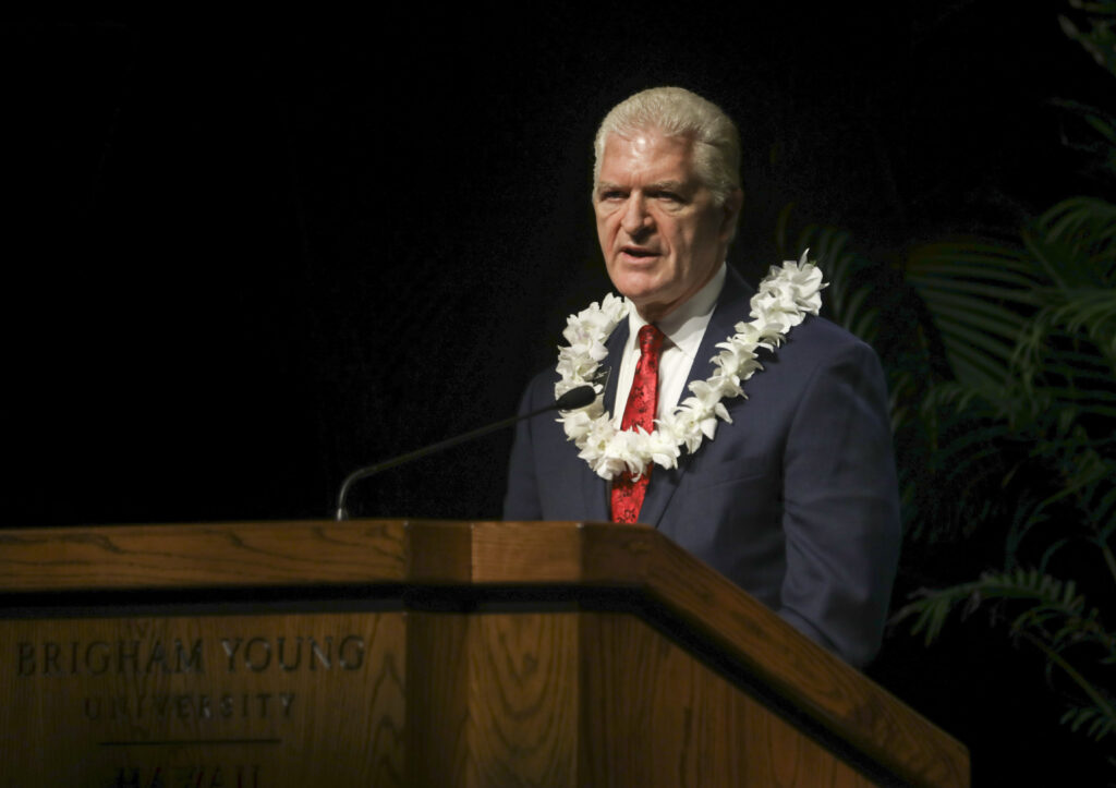 Elder Steven D. King, director of the Laie Hawaii Temple Visitors' Center, addresses students in a BYU–Hawaii devotional on Nov. 3, 2020.
