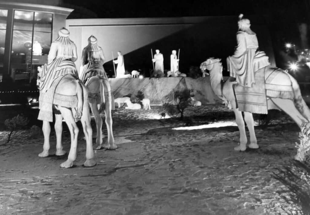 Images of the three wise men are displayed on Temple Square grounds on December 22, 1965.