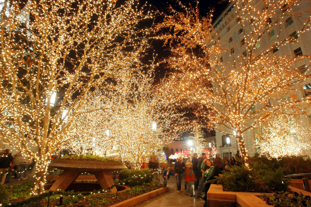 Christmas lights are turned on for the first time this holiday season at Temple Square in Salt Lake City Friday, Nov. 23, 2012.
