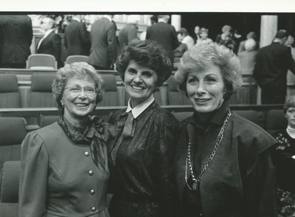 The Young Women general presidency photographed after a session of the April 1987 general conference, are, from left, Sister Jayne B. Malan, first counselor; Sister Ardeth G. Kapp, Young Women general president; and Sister Elaine L. Jack, second counselor.