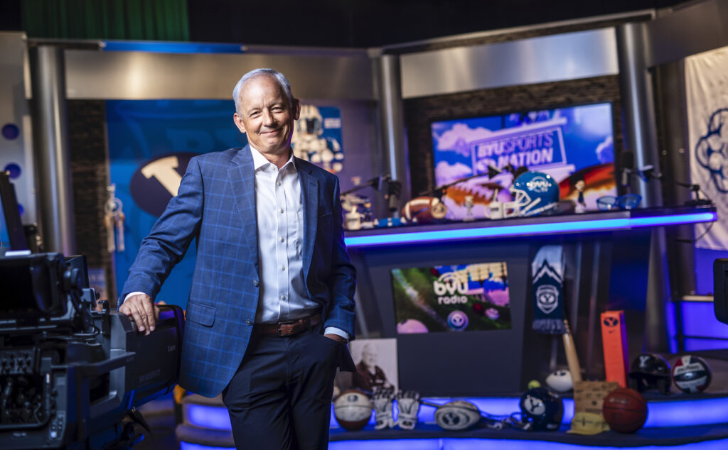 """BYU Broadcasting Managing Director Michael A. Dunn on the set of """"BYU Sports Nation."""""""
