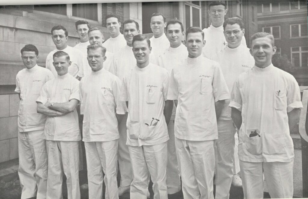 In 1947, Russell M. Nelson, third from the left in the second row, posed for a photo with the surgical intern staff of the University of Minnesota Hospitals.