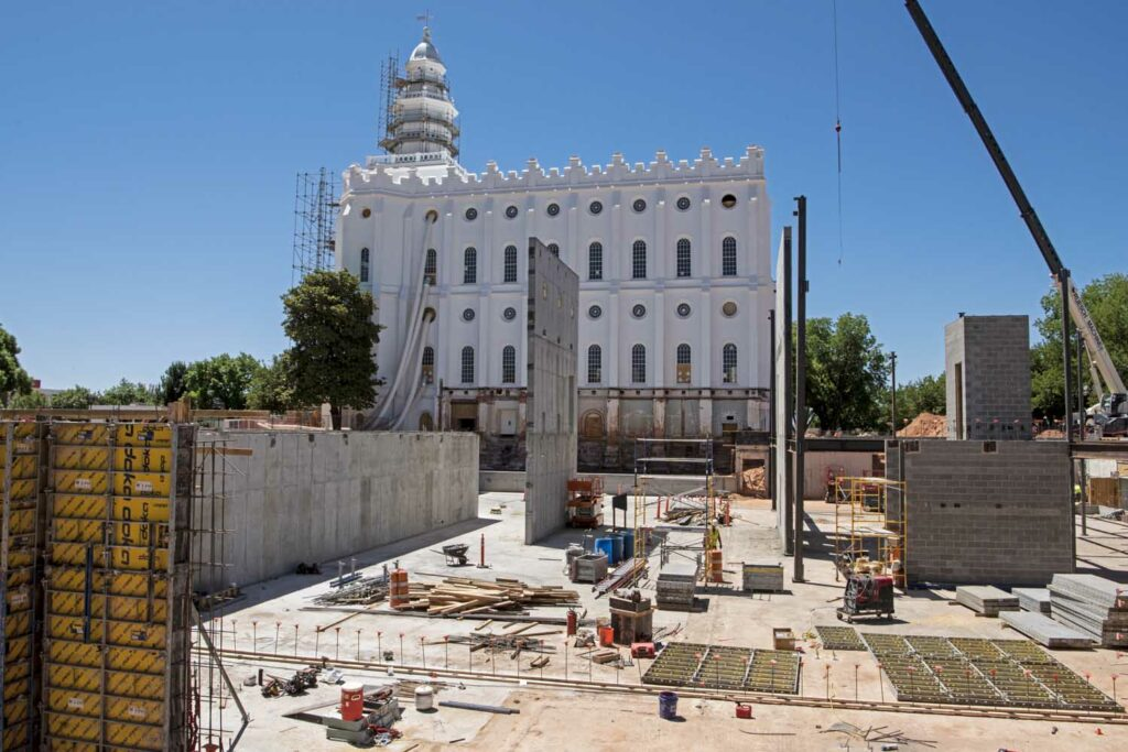 A view of the new north entrance addition of the St. George Utah Temple. Crews install steel beams and concrete walls in June 2020.
