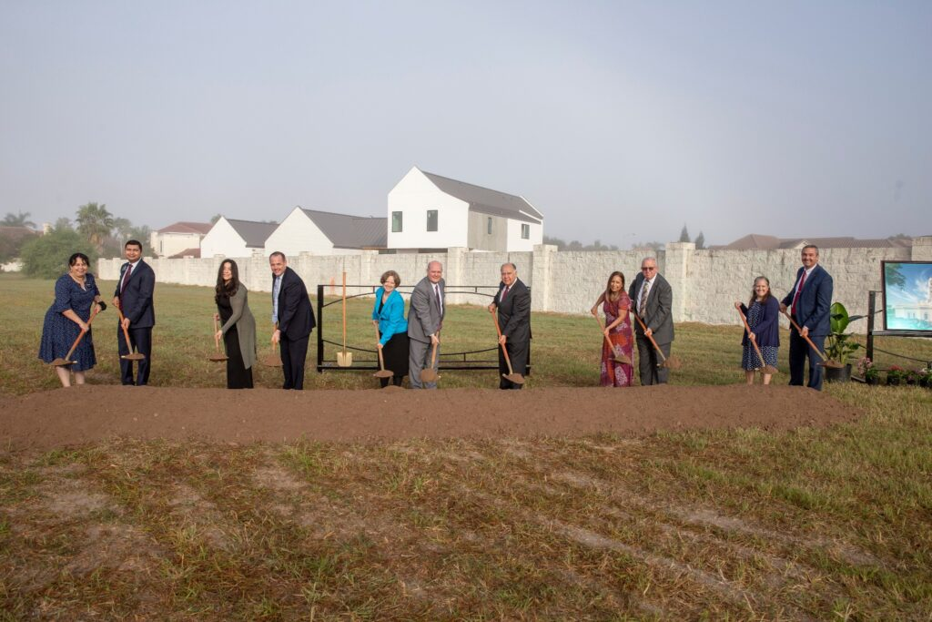 Latter-day Saints participate in the ceremonial groundbreaking of the McAllen Texas Temple on Nov. 21, 2020.