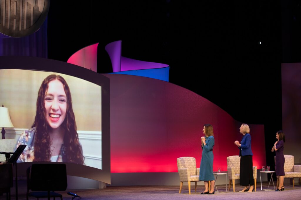 Faith Murray, a Latter-day Saint from Washington state, virtually participates in the Face to Face event for young women around the world on Sunday, November 15, 2020. The interactive broadcast includes the Church's Young Women General Presidency as well as local organization leaders, members and friends of the faith.