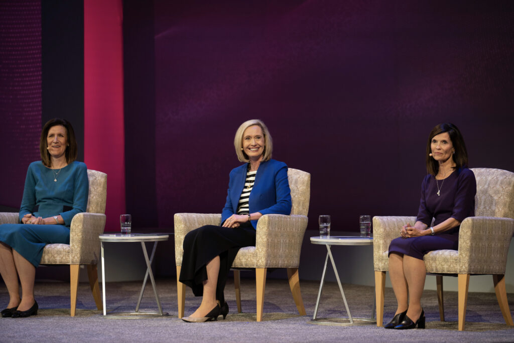 Young Women around the world joined President Bonnie H. Cordon (center), Sister Michelle D. Craig (left) and Sister Becky Craven (right) of the Young Women General Presidency at a worldwide Face to Face event on November 15, 2020. The broadcast celebrates the sesquicentennial anniversary of the Church's Young Women organization.