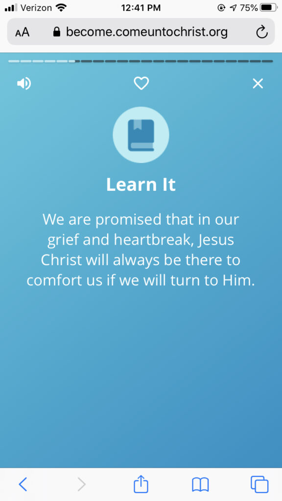 "In ""The Beatitudes"" path on the Become app, users are taught how the Savior comforts those who mourn."
