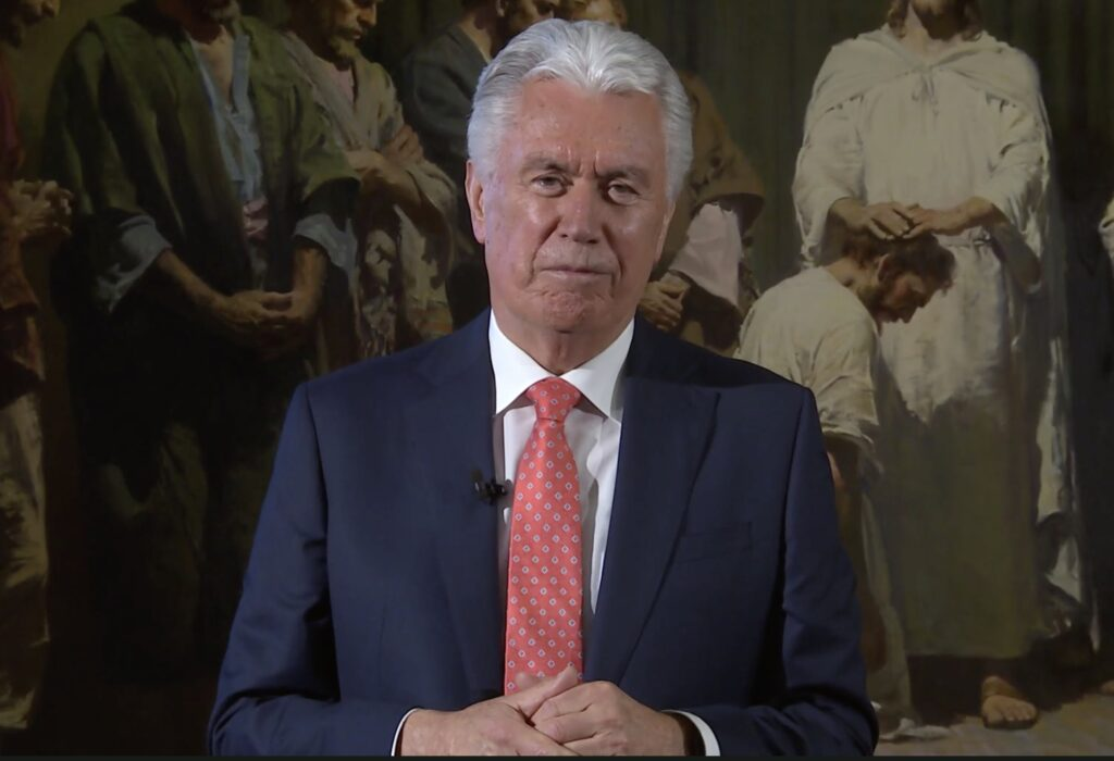 Elder Dieter F. Uchtdorf of the Quorum of the Twelve Apostles speaks to young adults in the North America Northeast Area in a devotional broadcast on Sunday, Nov. 1, 2020.