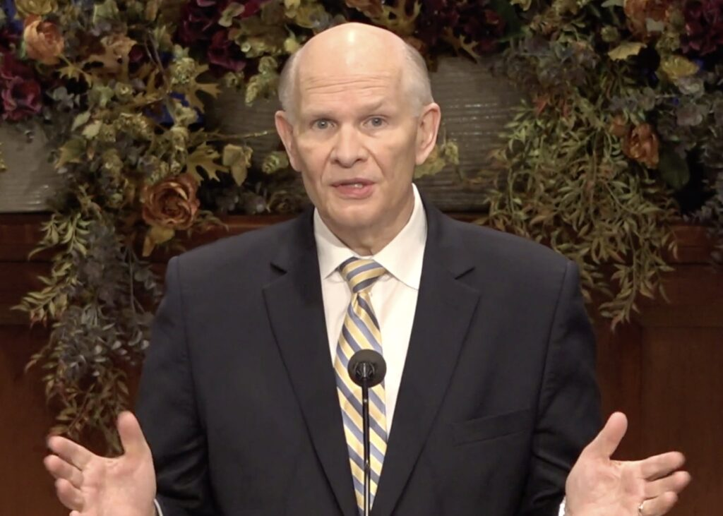 Elder Dale G. Renlund of the Quorum of the Twelve Apostles speaks during a devotional broadcast to young adults in the North America Central Area on Sunday, Nov. 1, 2020.