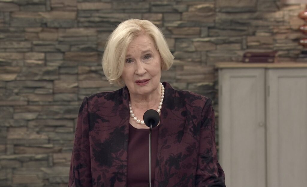 Sister Mary Cook offers remarks during a young adult broadcast to the North America West Area on Sunday, Nov. 1, 2020.