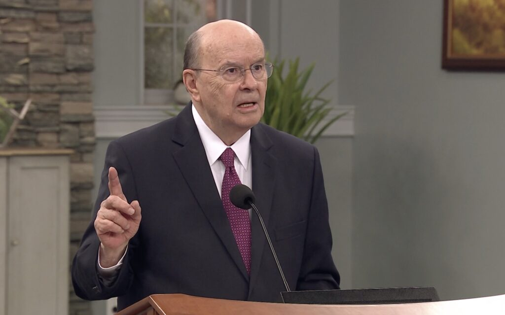 Elder Quentin L. Cook of the Quorum of the Twelve Apostles speaks to young adults in the North America West Area during a devotional broadcast on Sunday, Nov. 1, 2020.