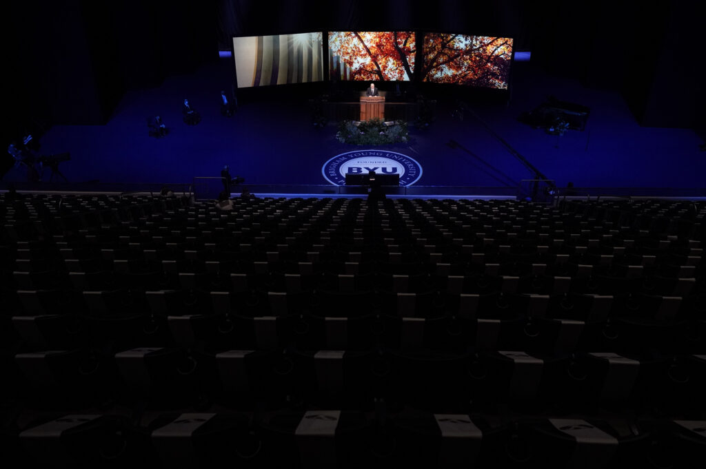 Elder Quentin L. Cook of the Quorum of the Twelve Apostles speaks to an empty Marriott Center on the campus of Brigham Young University on Tuesday, Nov. 10, 2020.
