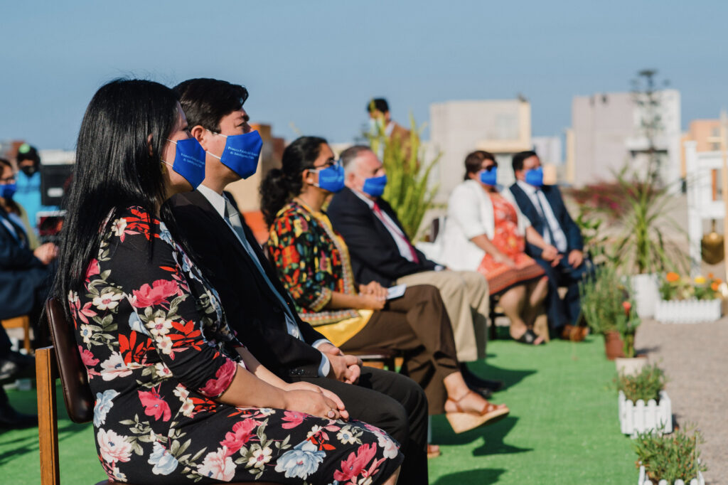 In adherence to local COVID-19-related restrictions, a small gathering of local civic and Latter-day Saint leaders participated in the Nov. 27, 2020, groundbreaking ceremony of the Antofagasta Chile Temple.