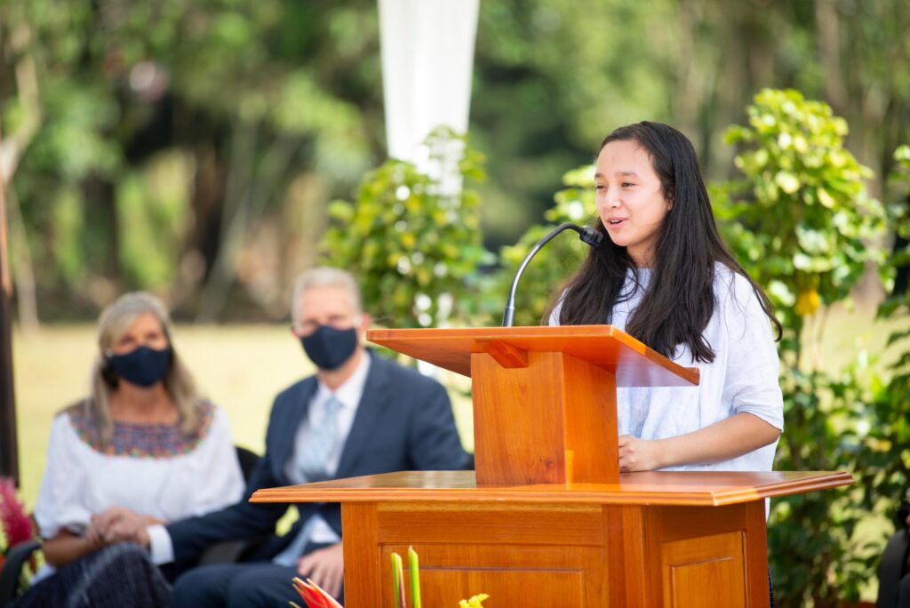 Lucy Margarita Poóu Chiquín speaks of her gratitude for temples during the Nov. 14, 2020, groundbreaking ceremony for the Cobán Guatemala Temple.