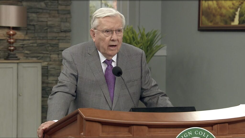 President M. Russell Ballard, Acting President of the Quorum of the Twelve Apostles, speaks during an Ensign College devotional broadcast on Nov. 3, 2020.