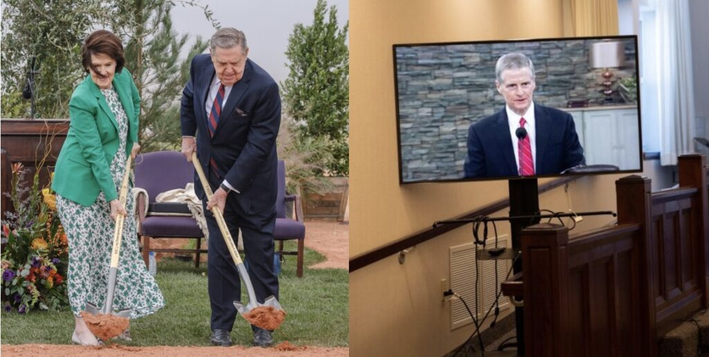 Elder Jeffrey R. Holland and his wife, Sister Patricia Holland, left, presided at the Red Cliffs Utah Temple groundbreaking in St. George, Utah, on Saturday, Nov. 7, 2020. Elder David A. Bednar, right, presided remotely at the Bentonville Arkansas Temple groundbreaking the same day.
