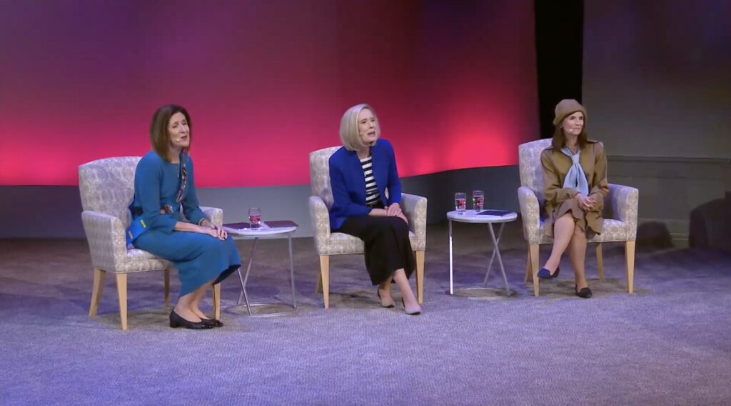 President Bonnie H. Cordon, center; Sister Michelle D. Craig, left; and Sister Becky Craven, right; talk about the 150-year history of the Young Women organization during the Face to Face event on Sunday, Nov. 15, 2020.