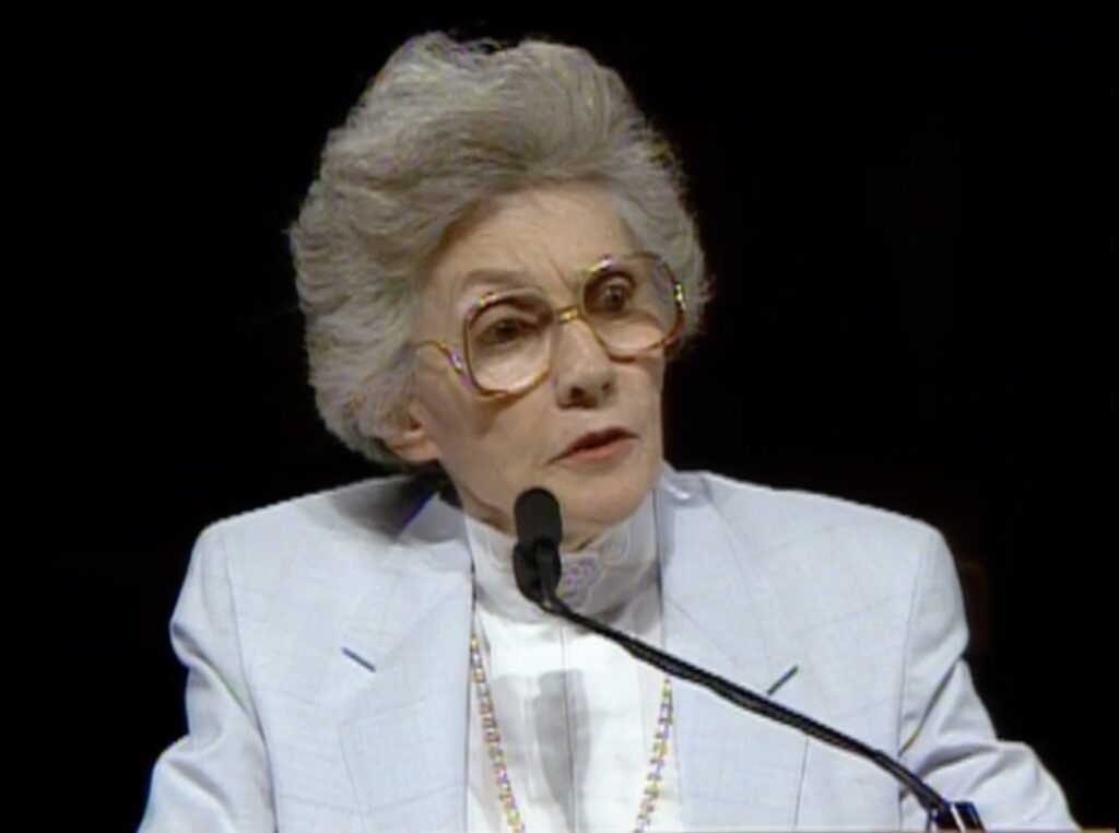Sister Joy F. Evans, first counselor in the Relief Society general presidency, speaks during the October 1987 general conference.