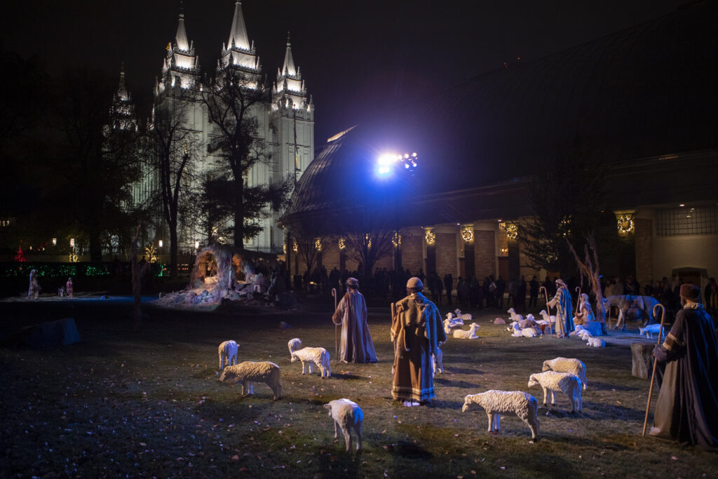 The Nativity story is told on the grass at Temple Square in Salt Lake City on Friday, Nov. 23, 2018.