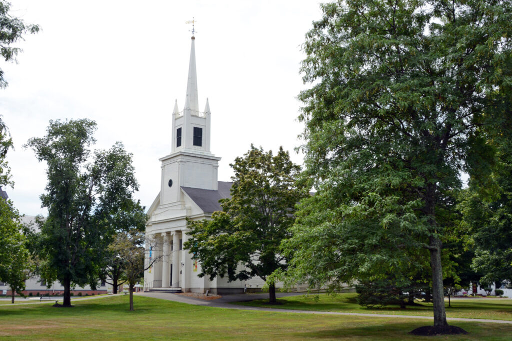 Site of the Congregational Church at Topsfield, Massachusetts, where several of Joseph Smith's ancestors were baptized (the earlier building is no longer extant).