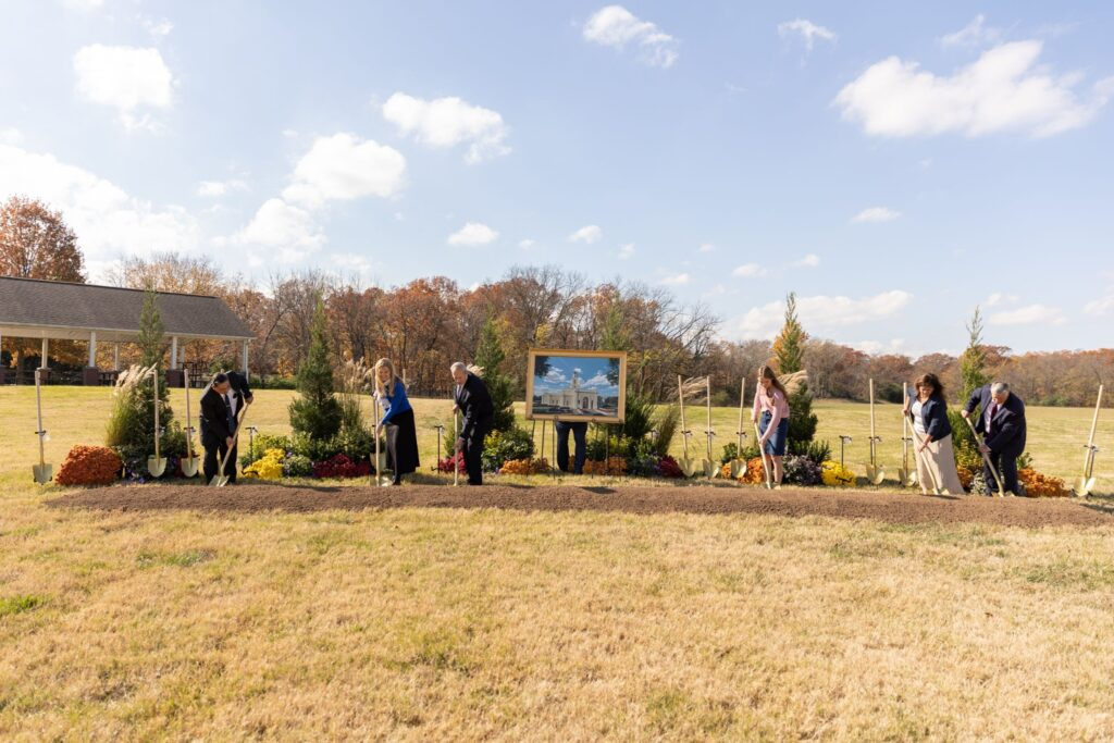 Local Church leaders participate in the groundbreaking of the Bentonville Arkansas Temple on Saturday, Nov. 7, 2020.