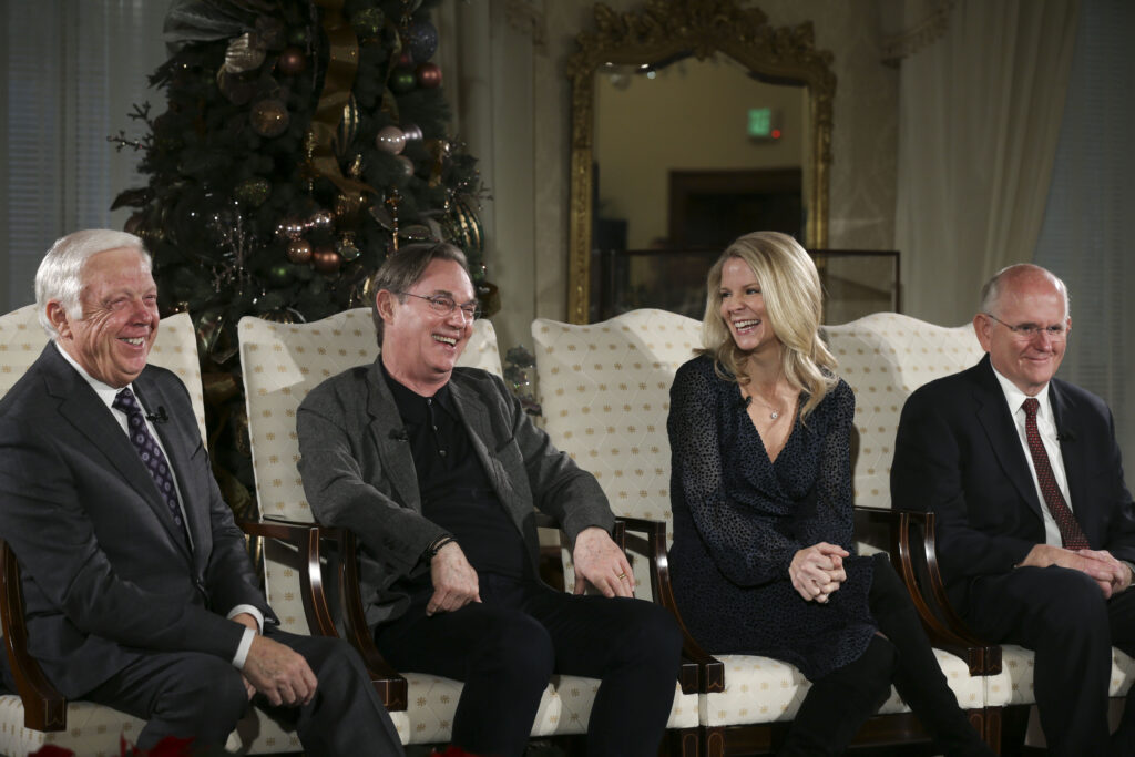 Ron Jarrett, left, president of the Tabernacle Choir at Temple Square, Kelli O'Hara, acclaimed singer and actress, actor Richard Thomas, and Mack Wilberg, music director of the Tabernacle Choir, talk about the 2019 Christmas with The Tabernacle Choir concert in Salt Lake City on Thursday, Dec. 12, 2019. The Tabernacle Choir at Temple Square, Orchestra at Temple Square and Bells on Temple Square will perform their annual Christmas concerts in the Conference Center on Temple Square in Salt Lake City on Thursday, Friday, and Saturday, Dec. 12–14, 2019, at 8:00 p.m.