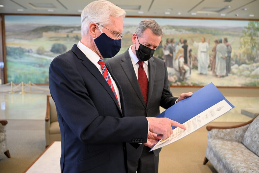 Elder D. Todd Christofferson of the Quorum of the Twelve Apostles and Elder Randall K. Bennett, president of the North America Northeast Area, read a citation from New York Gov. Andrew Cuomo on Tuesday, Dec. 15, 2020. The citation acknowledged the bicentennial anniversary of the First Vision.