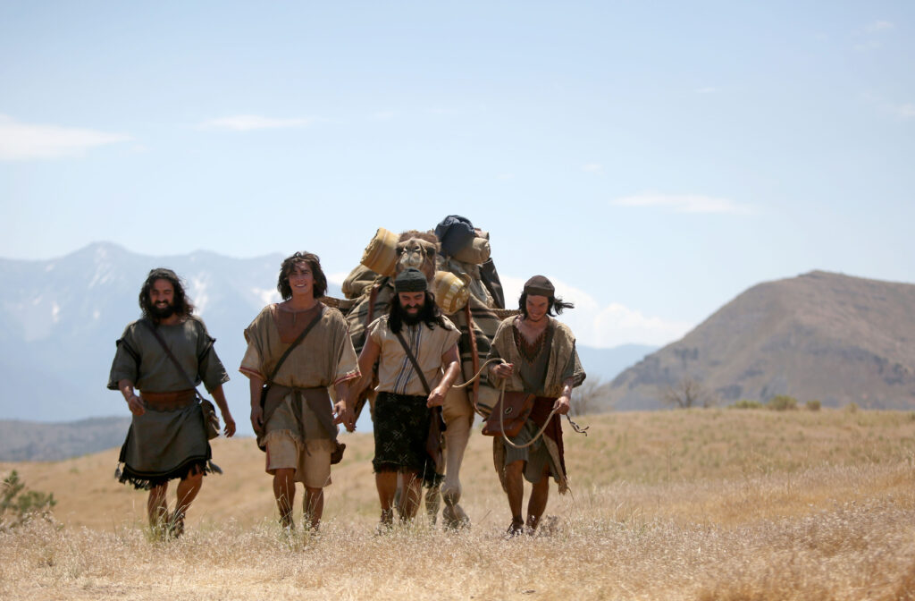Actors portray Nephi, Sam, Laman and Lemuel in this scene from The Book of Mormon Videos series. Sam Petersen as Lemuel, Jackson VanDerwerken as Nephi, Mace Sorensen as Laman, and Cooper Sutton as Sam, act in the Book of Mormon Visual Library at LDS Motion Picture Studios South Campus near Goshen on Friday, July 7, 2017.