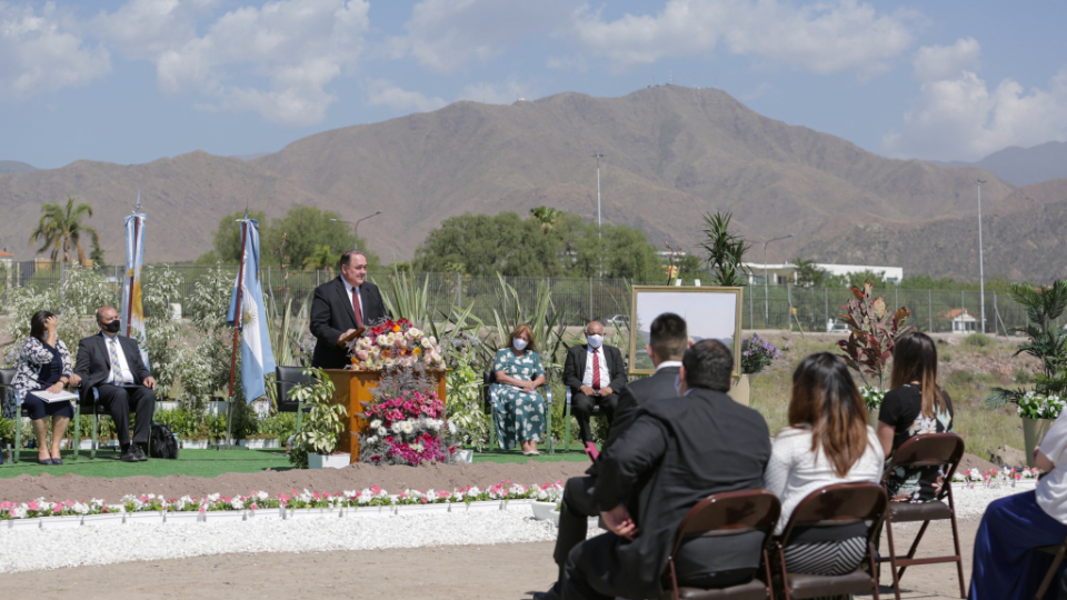 Elder Allen D. Haynie delivers remarks prior to offering the dedicatory prayer during the Dec. 17, 2020, groundbreaking ceremony of the Mendoza Argentina Temple.