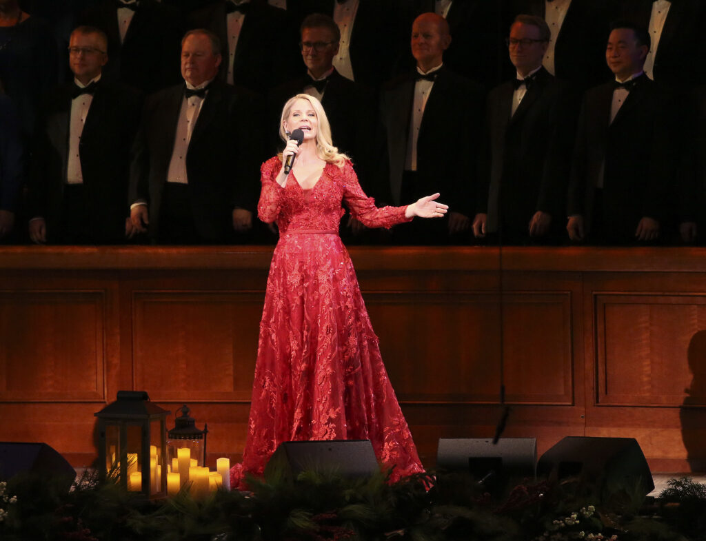 Kelli O'Hara performs with the Tabernacle Choir at Temple Square and Orchestra at Temple Square during a Christmas concert at the Conference Center in Salt Lake City on Thursday, Dec. 12, 2019.