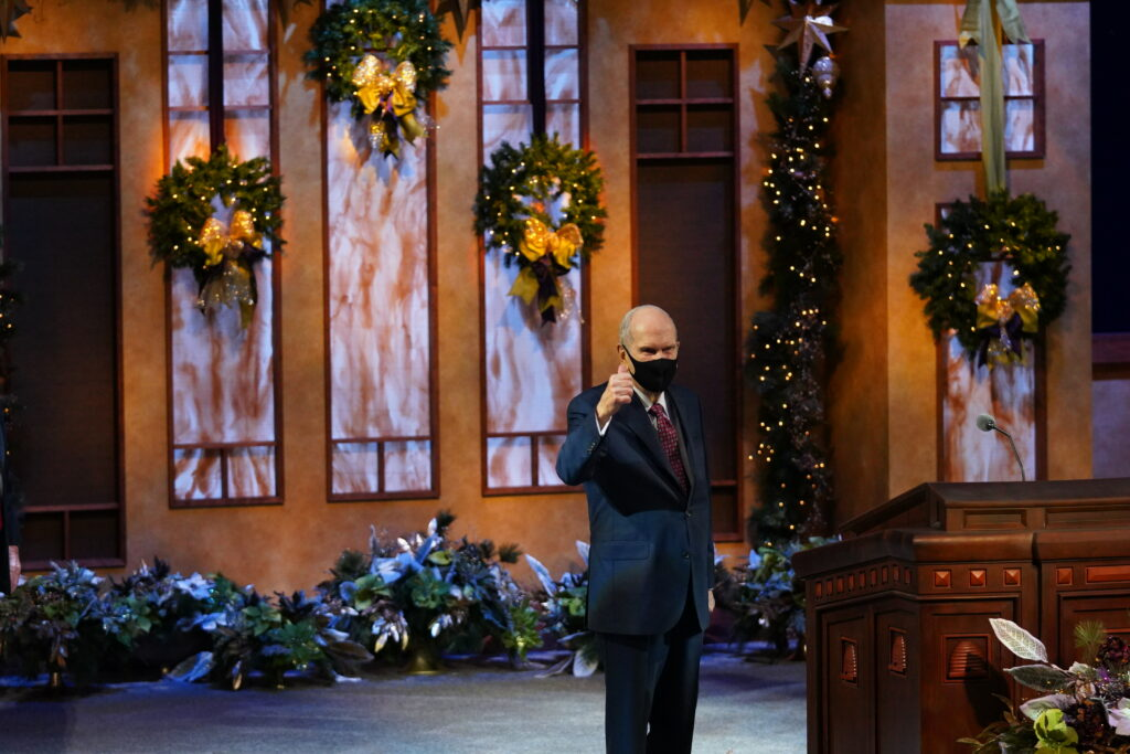 President Russell M. Nelson gives a thumbs up prior to the start of the First Presidency Christmas Devotional on Sunday, Dec. 6, 2020.