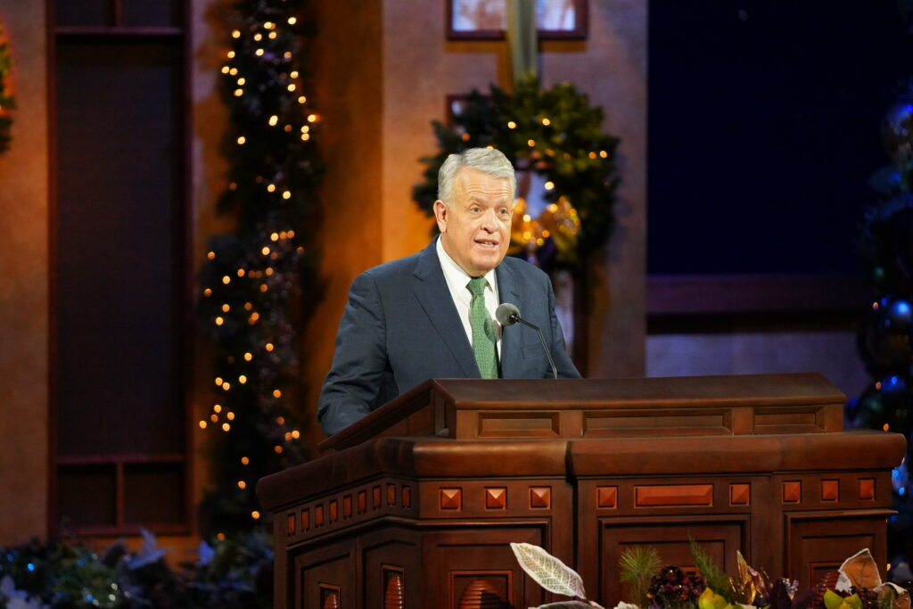 Elder Brent H. Nielson of the Presidency of the Seventy speaks during the First Presidency Christmas Devotional broadcast from the Conference Center Theater in Salt Lake City on Sunday, Dec. 6, 2020.