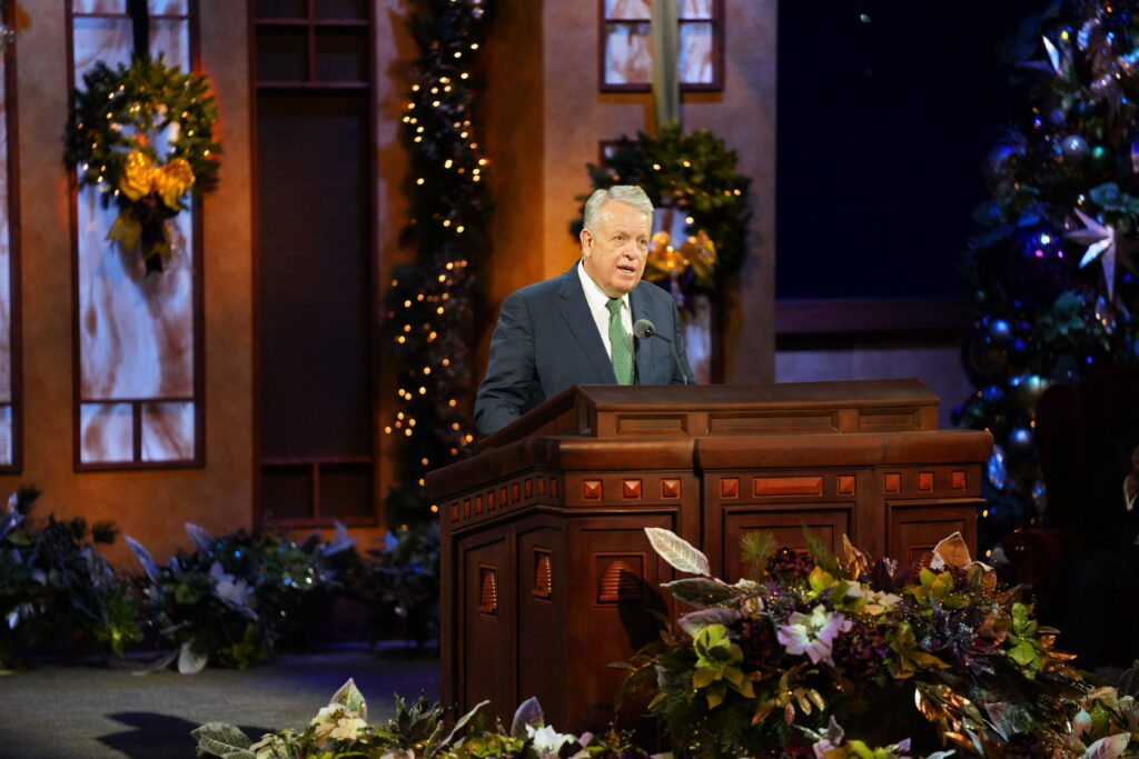 Elder Brent H. Nielson speaks during the First Presidency Christmas Devotional broadcast from the Conference Center Theater in Salt Lake City on Sunday, Dec. 6, 2020.