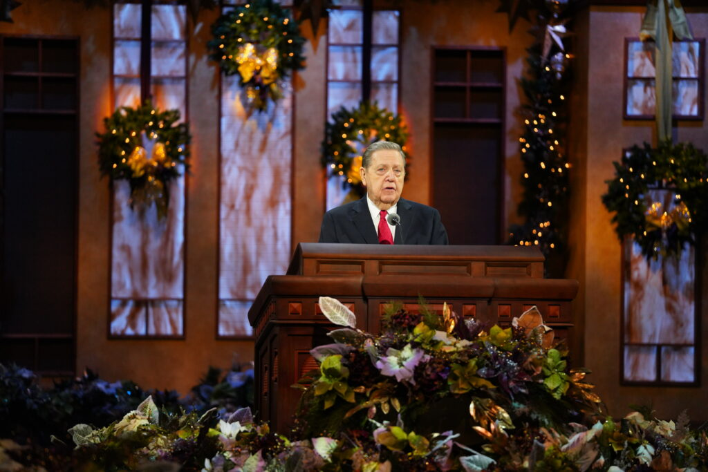 Elder Jeffrey R. Holland of the Quorum of the Twelve Apostles speaks in the Conference Center Little Theater for the First Presidency Christmas Devotional on Sunday, Dec. 6, 2020.