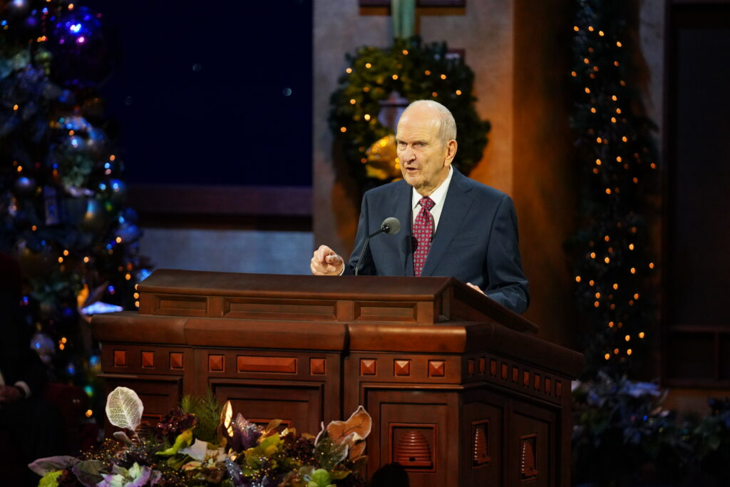 President Russell M. Nelson speaks during the First Presidency Christmas Devotional broadcast from the Conference Center Theater in Salt Lake City on Sunday, Dec. 6, 2020.